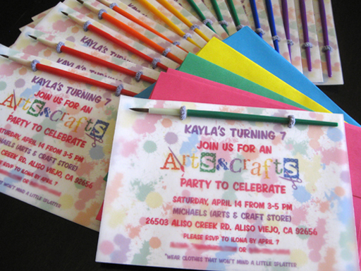 In a card 39 s blog arts crafts party invites for Arts and crafts party