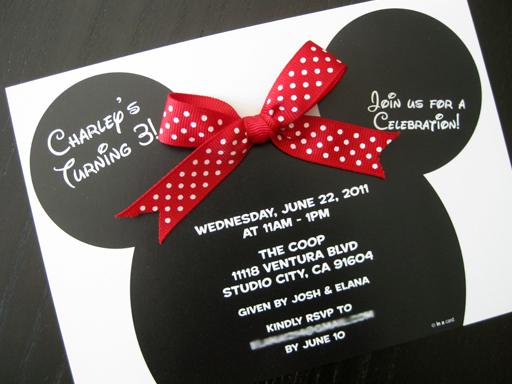 Cute Minnie Mouse Birthday Invitations